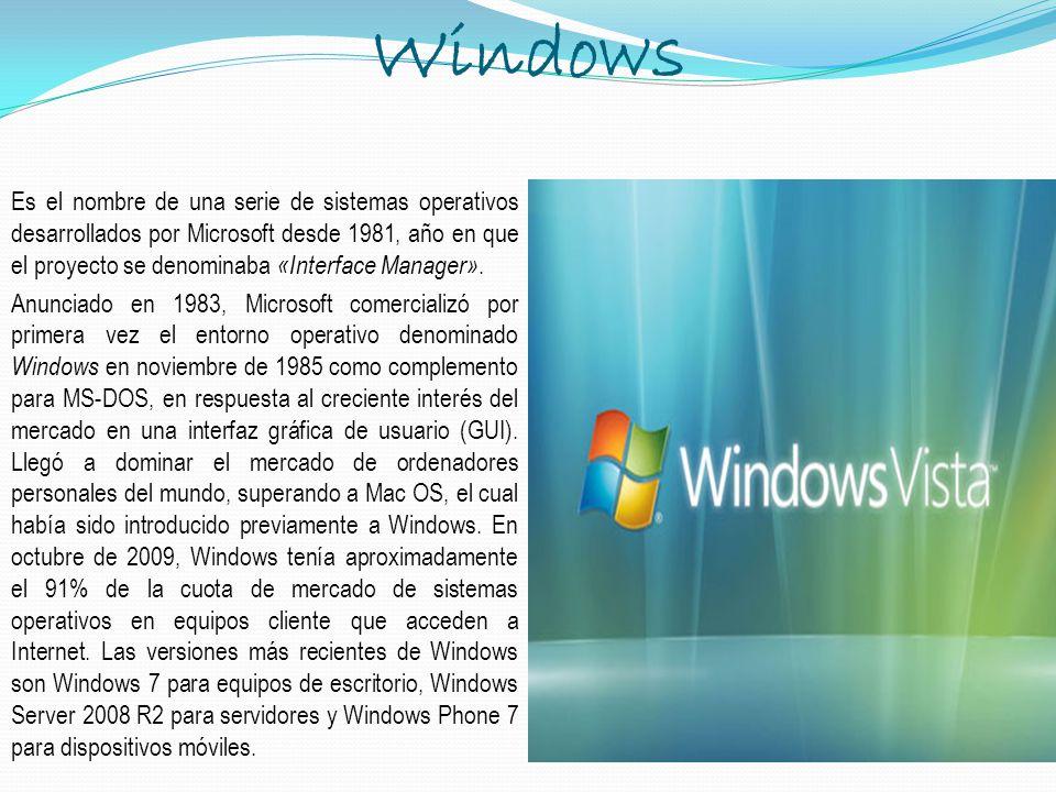 Windows Es el nombre de una serie de sistemas operativos desarrollados por Microsoft desde 1981, año en que el proyecto se denominaba «Interface Manag