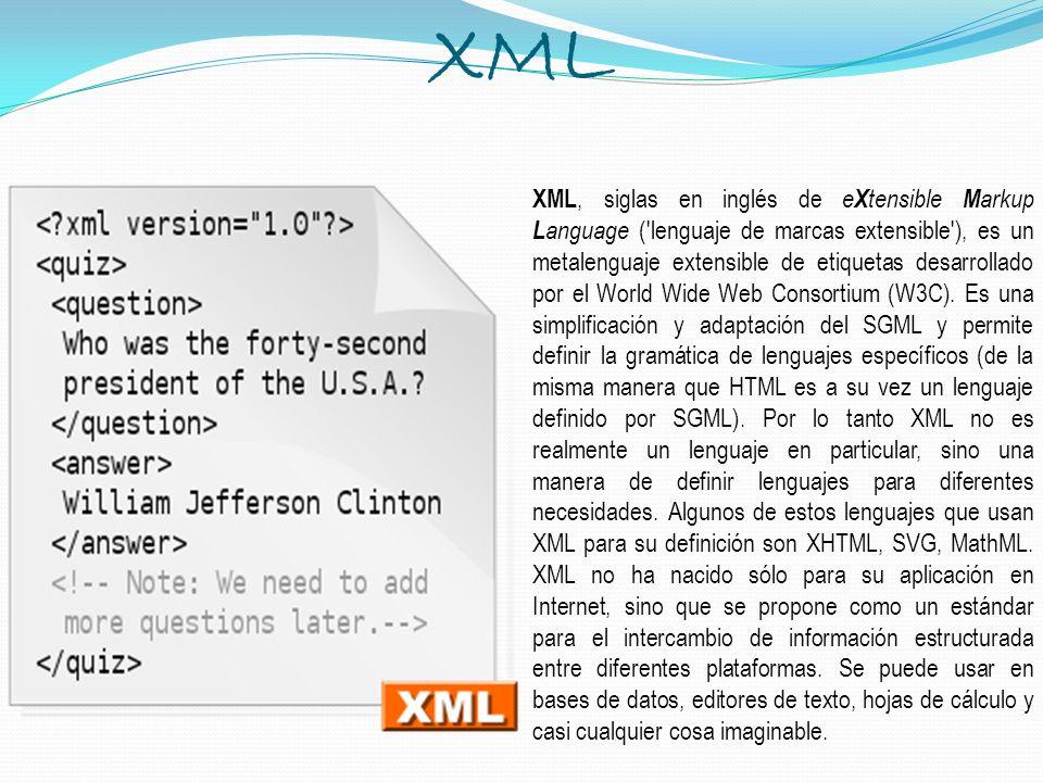 XML XML, siglas en inglés de e X tensible M arkup L anguage ('lenguaje de marcas extensible'), es un metalenguaje extensible de etiquetas desarrollado
