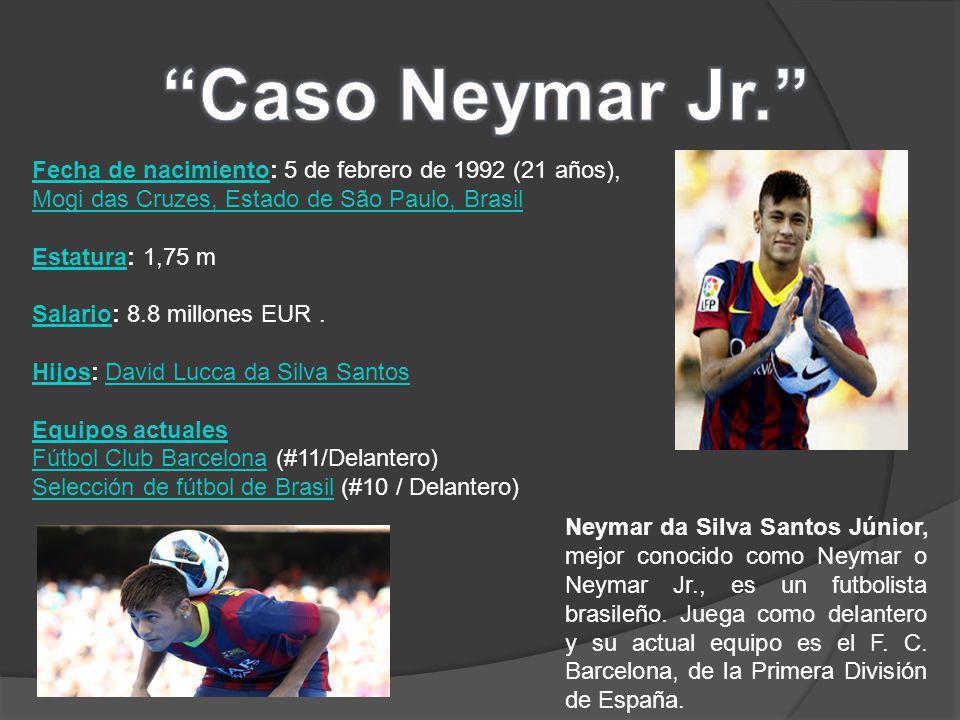 Neymar da Silva Santos Júnior, mejor conocido como Neymar o Neymar Jr., es un futbolista brasileño.