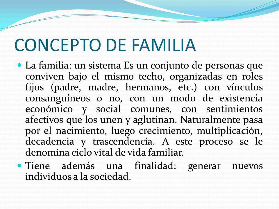 CONCEPTO DE FAMILIA La familia: un sistema Es un conjunto de personas que conviven bajo el mismo techo, organizadas en roles fijos (padre, madre, herm