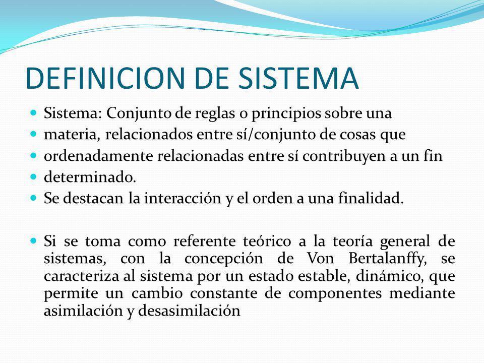 DEFINICION DE SISTEMA Sistema: Conjunto de reglas o principios sobre una materia, relacionados entre sí/conjunto de cosas que ordenadamente relacionad