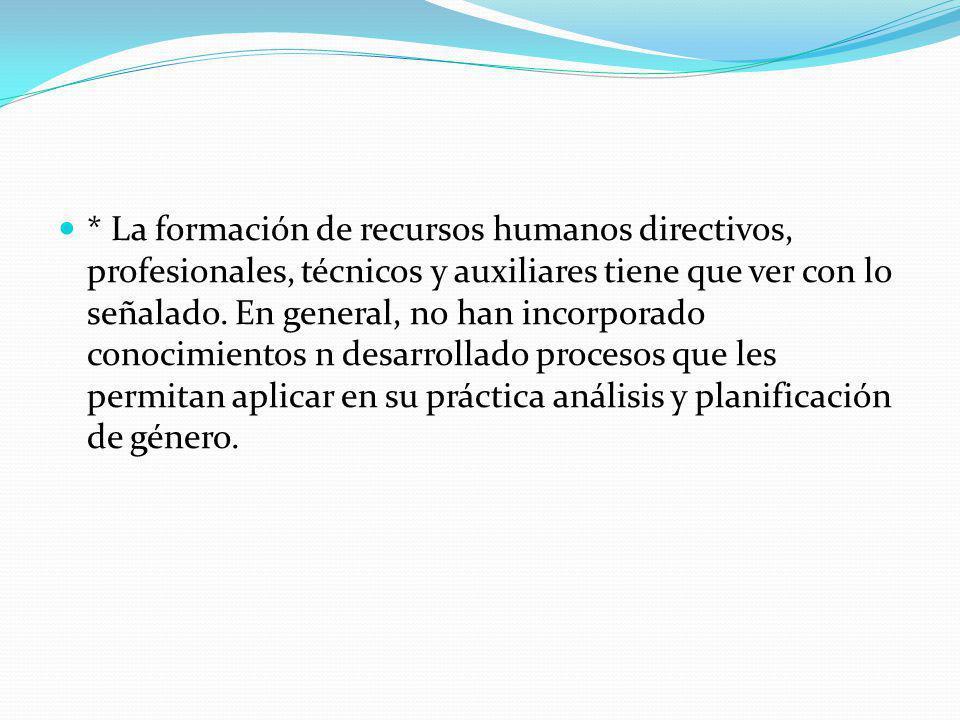* La formación de recursos humanos directivos, profesionales, técnicos y auxiliares tiene que ver con lo señalado. En general, no han incorporado cono