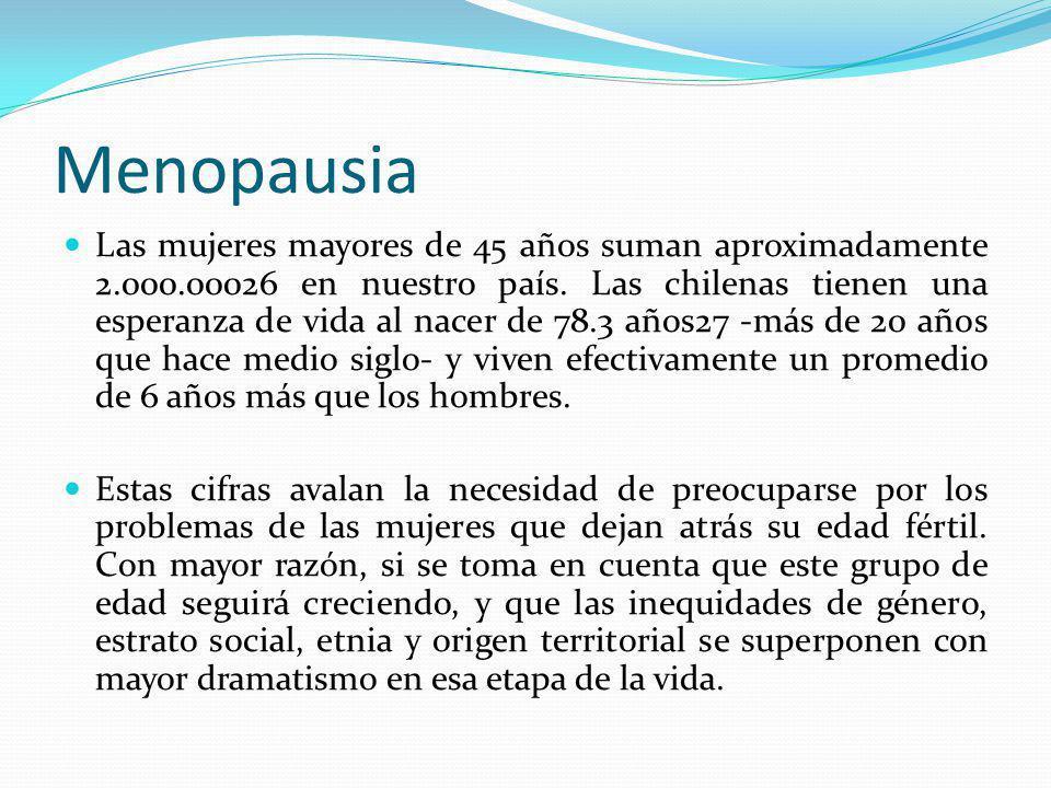 Menopausia Las mujeres mayores de 45 años suman aproximadamente 2.000.00026 en nuestro país. Las chilenas tienen una esperanza de vida al nacer de 78.