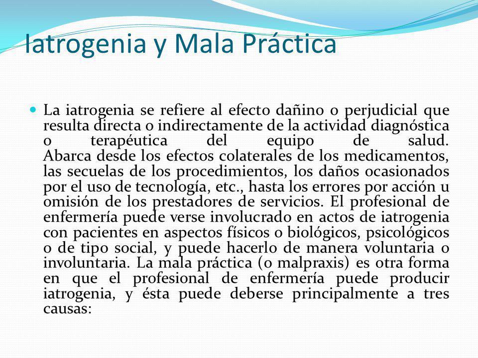 Iatrogenia y Mala Práctica La iatrogenia se refiere al efecto dañino o perjudicial que resulta directa o indirectamente de la actividad diagnóstica o