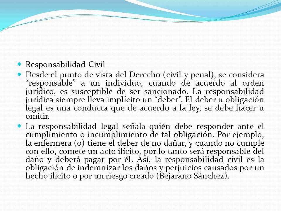 Responsabilidad Civil Desde el punto de vista del Derecho (civil y penal), se considera responsable a un individuo, cuando de acuerdo al orden jurídic
