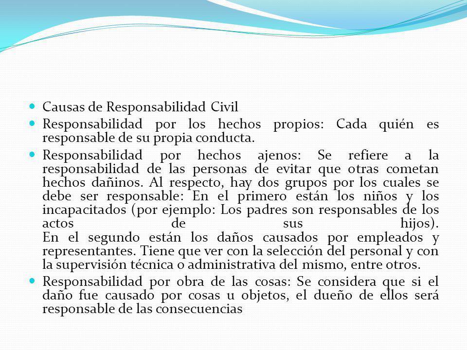 Causas de Responsabilidad Civil Responsabilidad por los hechos propios: Cada quién es responsable de su propia conducta. Responsabilidad por hechos aj