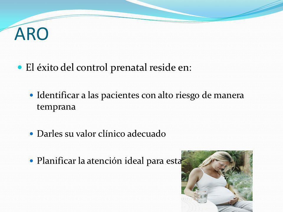 ARO El éxito del control prenatal reside en: Identificar a las pacientes con alto riesgo de manera temprana Darles su valor clínico adecuado Planifica