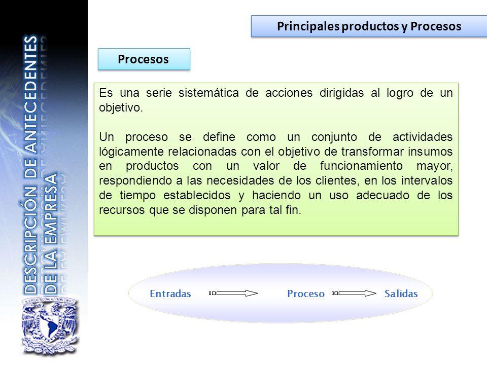 Principales productos y Procesos Procesos Es una serie sistemática de acciones dirigidas al logro de un objetivo. Un proceso se define como un conjunt
