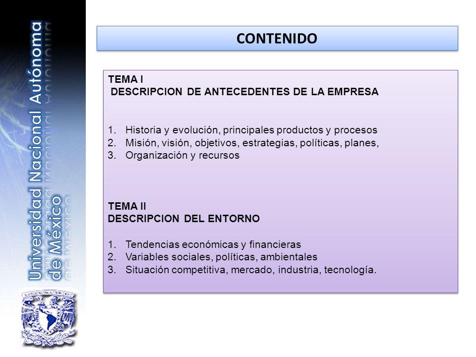 TEMA I DESCRIPCION DE ANTECEDENTES DE LA EMPRESA 1.Historia y evolución, principales productos y procesos 2.Misión, visión, objetivos, estrategias, po
