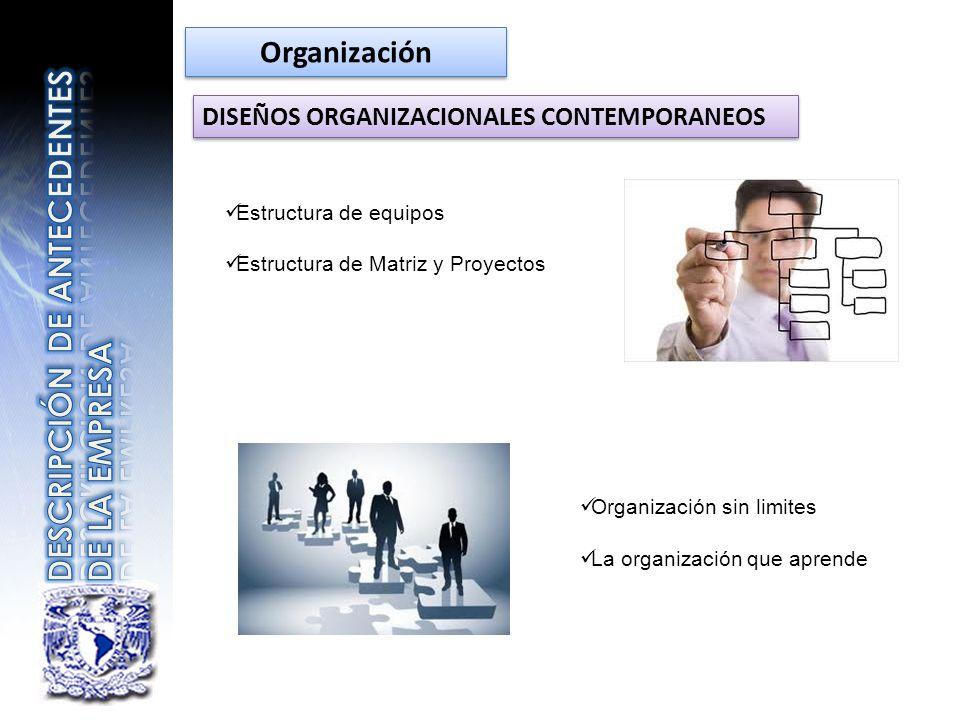 DISEÑOS ORGANIZACIONALES CONTEMPORANEOS Estructura de equipos Estructura de Matriz y Proyectos Organización sin limites La organización que aprende Or