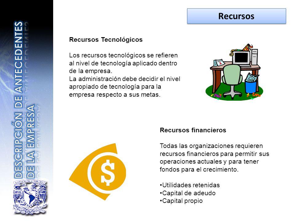 Recursos Tecnológicos Los recursos tecnológicos se refieren al nivel de tecnología aplicado dentro de la empresa. La administración debe decidir el ni