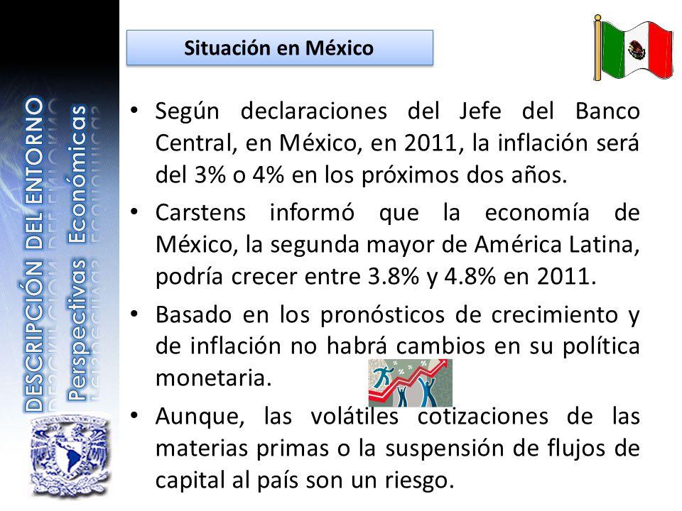Según declaraciones del Jefe del Banco Central, en México, en 2011, la inflación será del 3% o 4% en los próximos dos años. Carstens informó que la ec