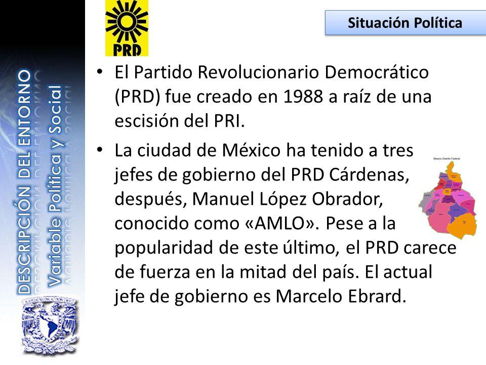 El Partido Revolucionario Democrático (PRD) fue creado en 1988 a raíz de una escisión del PRI. La ciudad de México ha tenido a tres jefes de gobierno