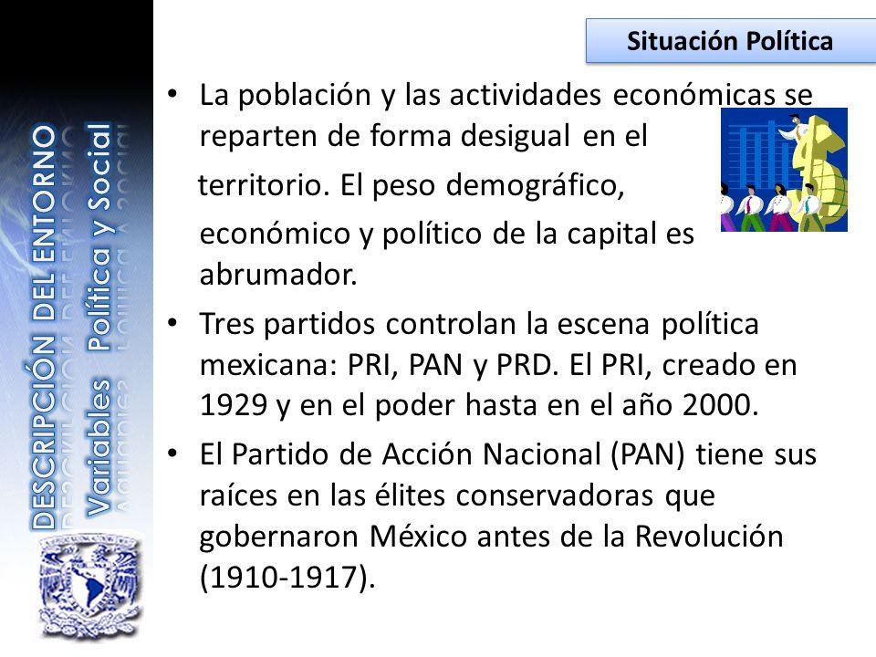 La población y las actividades económicas se reparten de forma desigual en el territorio. El peso demográfico, económico y político de la capital es a