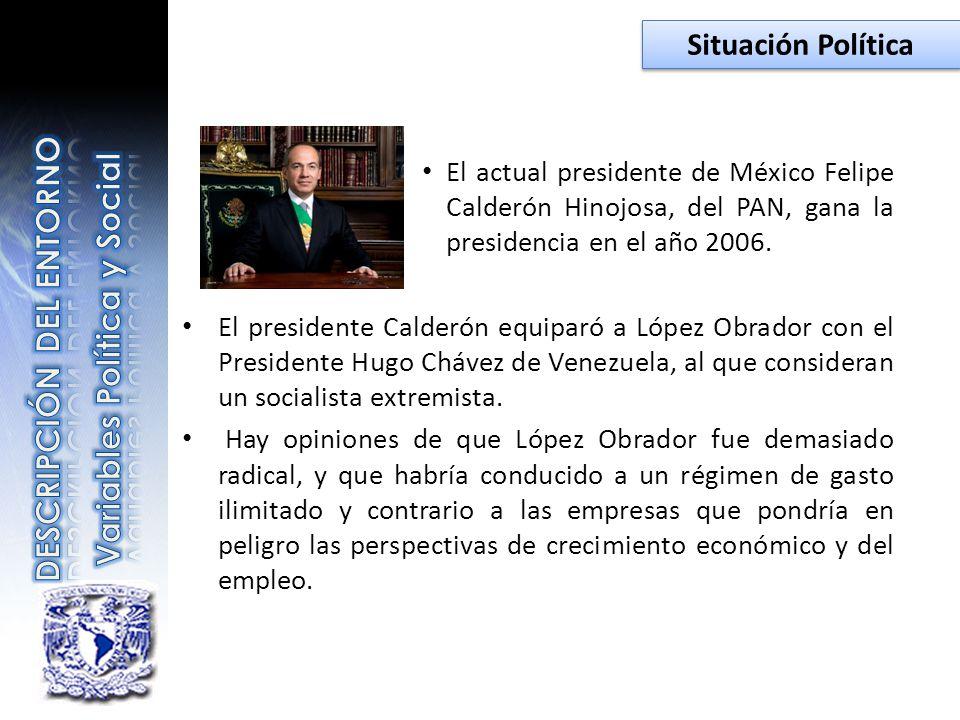 El actual presidente de México Felipe Calderón Hinojosa, del PAN, gana la presidencia en el año 2006. El presidente Calderón equiparó a López Obrador