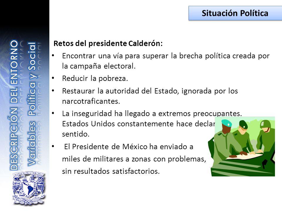 Retos del presidente Calderón: Encontrar una vía para superar la brecha política creada por la campaña electoral. Reducir la pobreza. Restaurar la aut