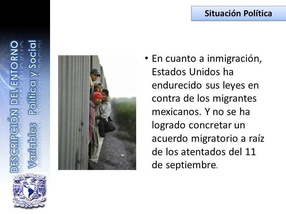 En cuanto a inmigración, Estados Unidos ha endurecido sus leyes en contra de los migrantes mexicanos. Y no se ha logrado concretar un acuerdo migrator