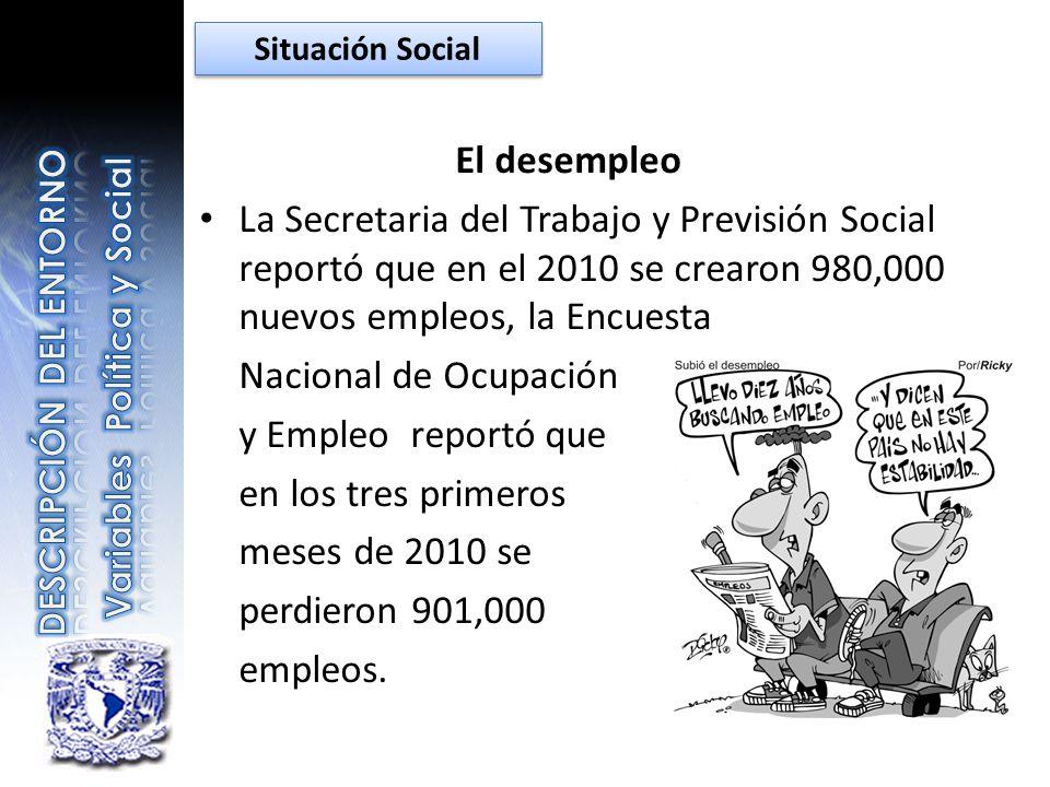 El desempleo La Secretaria del Trabajo y Previsión Social reportó que en el 2010 se crearon 980,000 nuevos empleos, la Encuesta Nacional de Ocupación