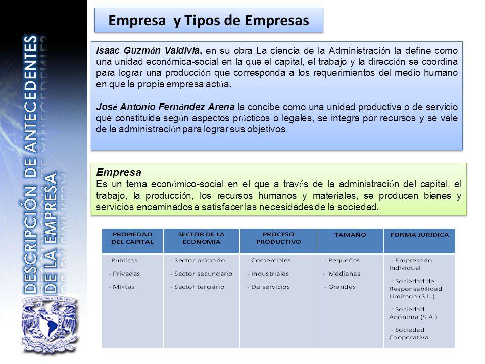 Empresa y Tipos de Empresas Isaac Guzm á n Valdivia, en su obra La ciencia de la Administraci ó n la define como una unidad econ ó mica-social en la q