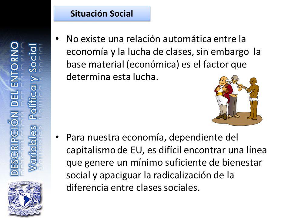No existe una relación automática entre la economía y la lucha de clases, sin embargo la base material (económica) es el factor que determina esta luc