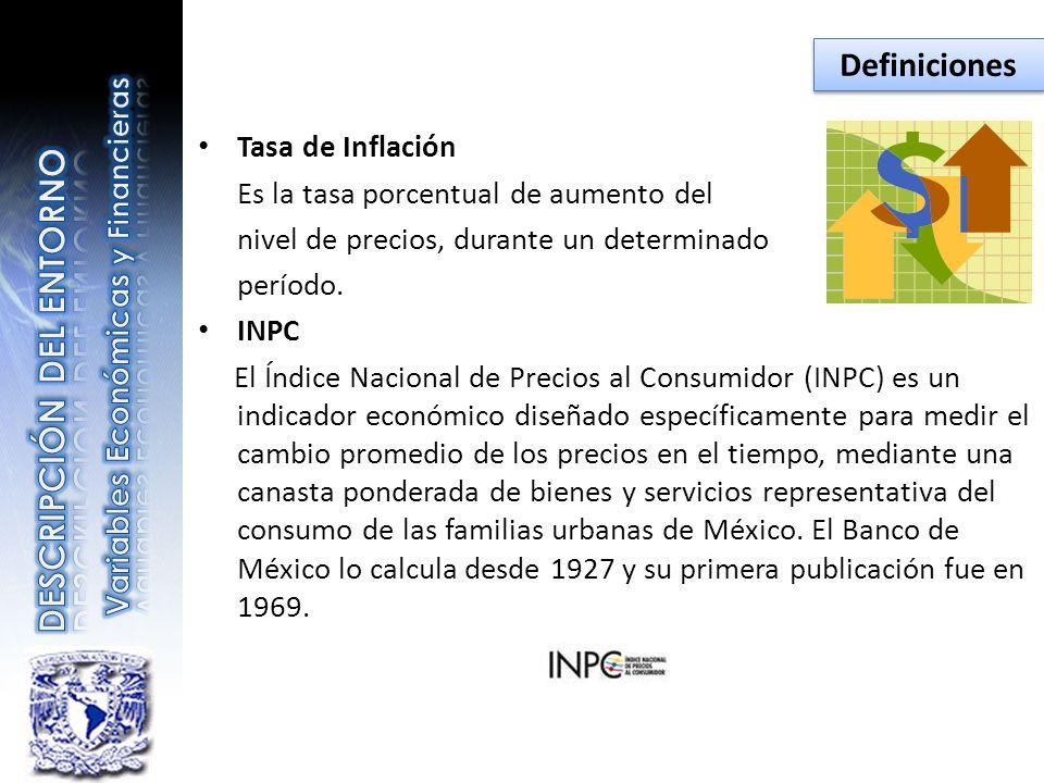Tasa de Inflación Es la tasa porcentual de aumento del nivel de precios, durante un determinado período. INPC El Índice Nacional de Precios al Consumi