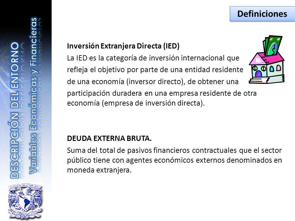 Inversión Extranjera Directa (IED) La IED es la categoría de inversión internacional que refleja el objetivo por parte de una entidad residente de una