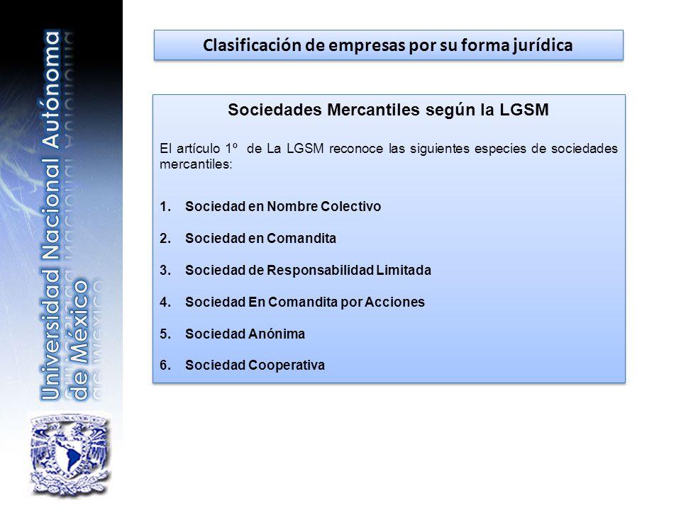 Clasificación de empresas por su forma jurídica Sociedades Mercantiles según la LGSM El artículo 1º de La LGSM reconoce las siguientes especies de soc
