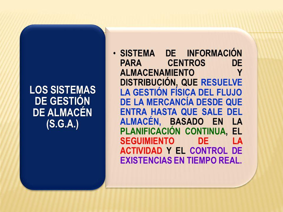 LOS SISTEMAS DE GESTIÓN DE ALMACÉN (S.G.A.) REALIZAN DE FORMA AUTOMÁTICA EL MANDO, EL CONTROL Y LA OPTIMIZACIÓN DE TODAS LAS OPERACIONES DEL ALMACÉN, PERMITE DISPONER EN TODO MOMENTO DE INFORMACIÓN ACTUALIZADA SOBRE EL STOCK, LOS OPERARIOS Y LAS DISTINTAS ZONAS Y UBICACIONES.