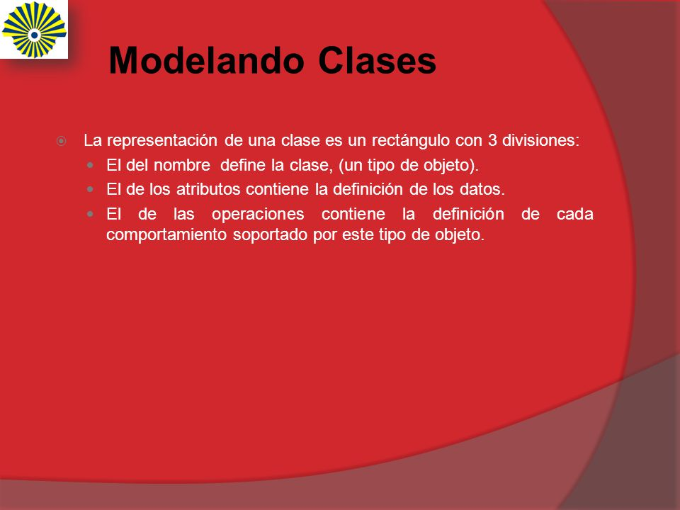 Modelando Clases La representación de una clase es un rectángulo con 3 divisiones: El del nombre define la clase, (un tipo de objeto). El de los atrib