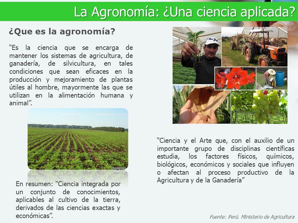 Es la ciencia que se encarga de mantener los sistemas de agricultura, de ganadería, de silvicultura, en tales condiciones que sean eficaces en la prod
