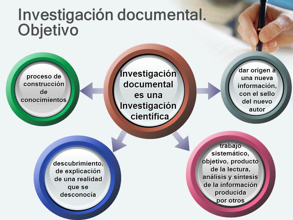 Investigación documental. Objetivo Investigacióndocumental es una Investigacióncientífica dar origen a una nueva información, con el sello del nuevo a