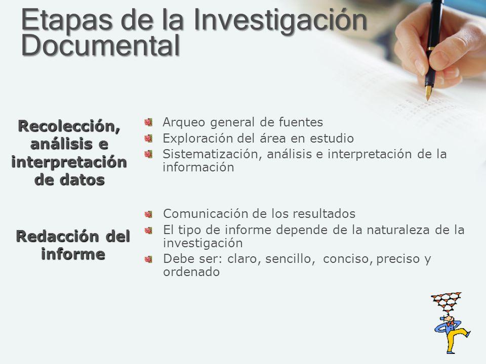 Etapas de la Investigación Documental Arqueo general de fuentes Exploración del área en estudio Sistematización, análisis e interpretación de la infor