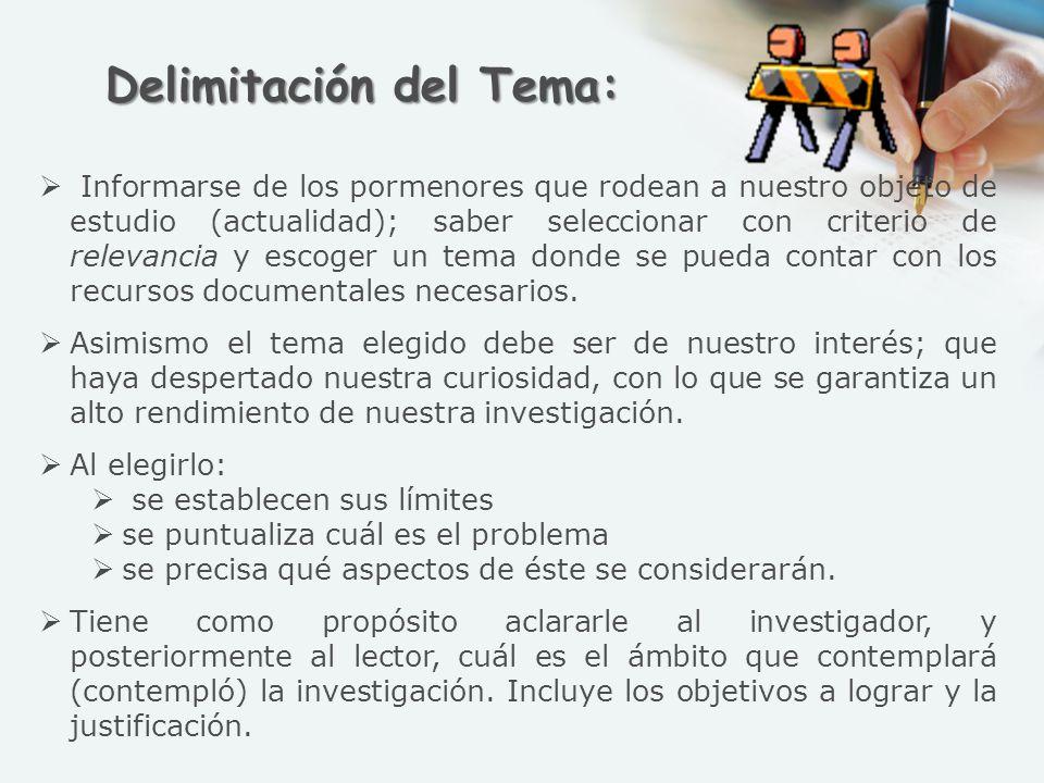 Delimitación del Tema: Informarse de los pormenores que rodean a nuestro objeto de estudio (actualidad); saber seleccionar con criterio de relevancia