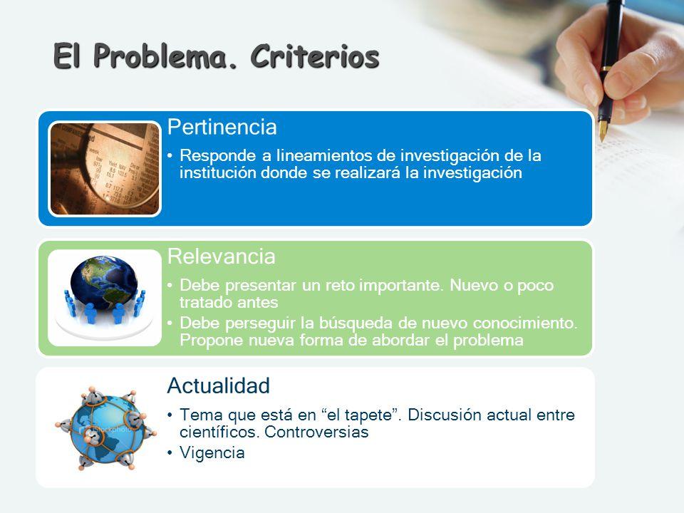 El Problema. Criterios Pertinencia Responde a lineamientos de investigación de la institución donde se realizará la investigación Relevancia Debe pres