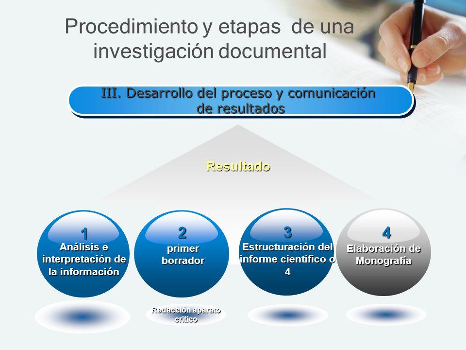 III. Desarrollo del proceso y comunicación de resultados III. Desarrollo del proceso y comunicación de resultados Resultado Análisis e interpretación