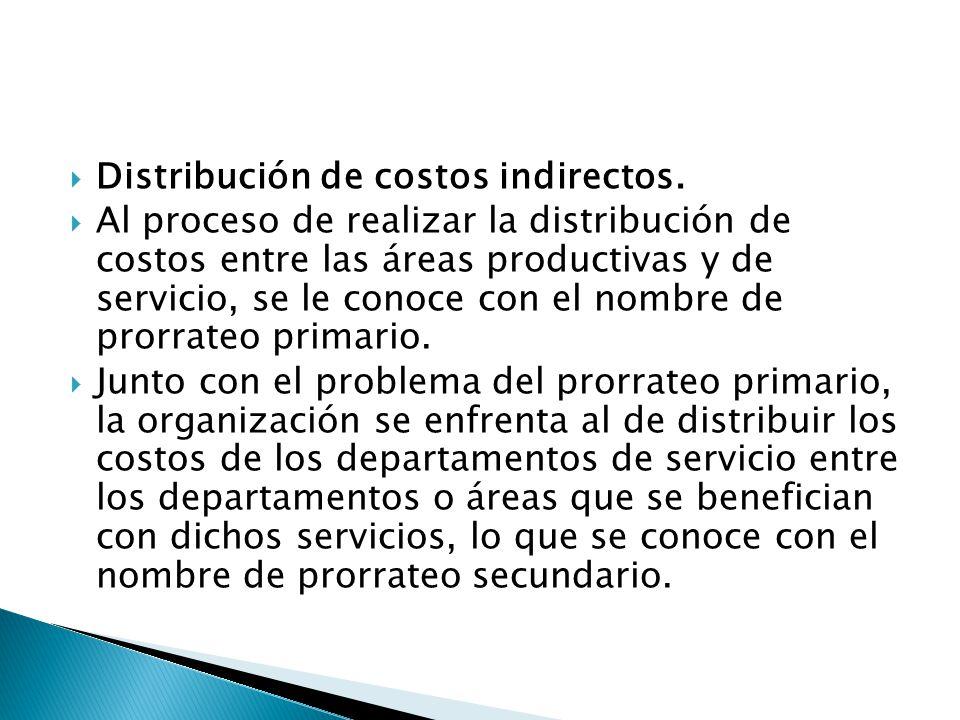 Distribución de costos indirectos. Al proceso de realizar la distribución de costos entre las áreas productivas y de servicio, se le conoce con el nom