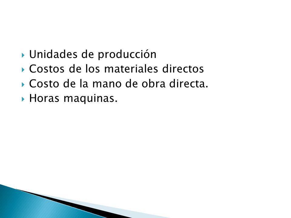 Unidades de producción Costos de los materiales directos Costo de la mano de obra directa. Horas maquinas.