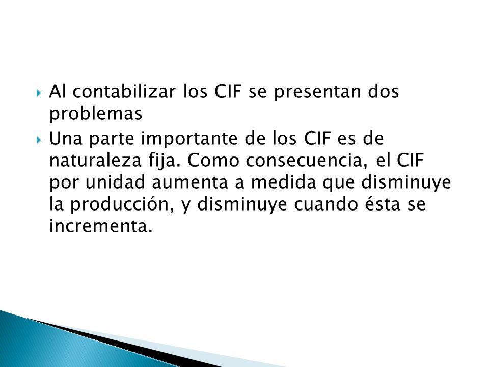 Al contabilizar los CIF se presentan dos problemas Una parte importante de los CIF es de naturaleza fija. Como consecuencia, el CIF por unidad aumenta