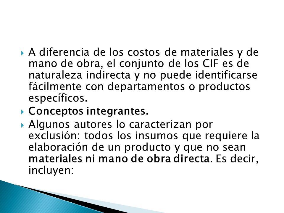 A diferencia de los costos de materiales y de mano de obra, el conjunto de los CIF es de naturaleza indirecta y no puede identificarse fácilmente con