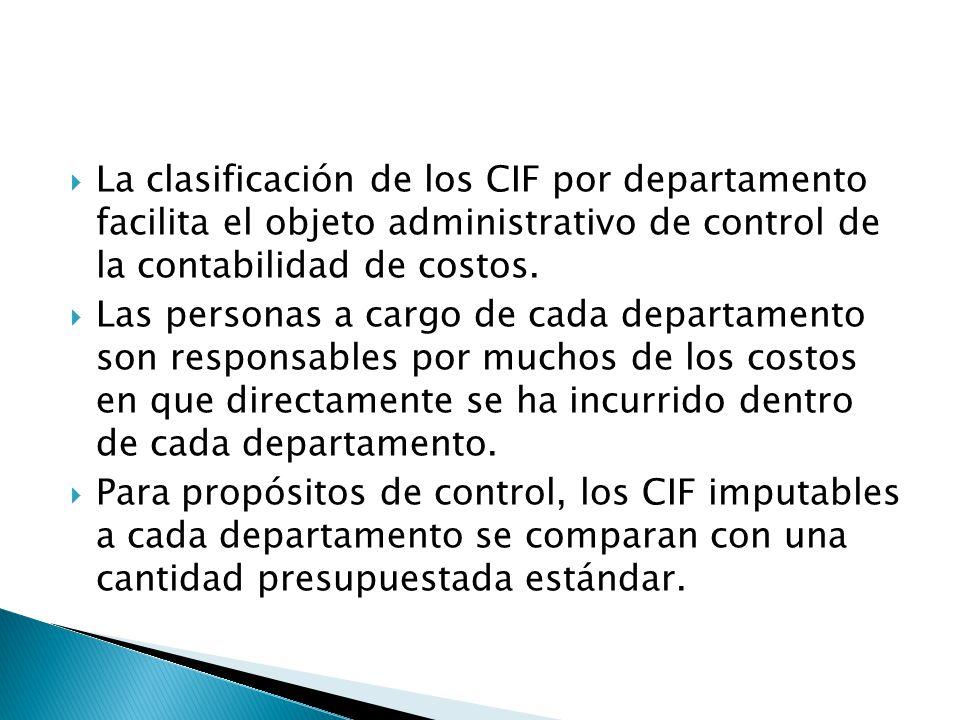 La clasificación de los CIF por departamento facilita el objeto administrativo de control de la contabilidad de costos. Las personas a cargo de cada d