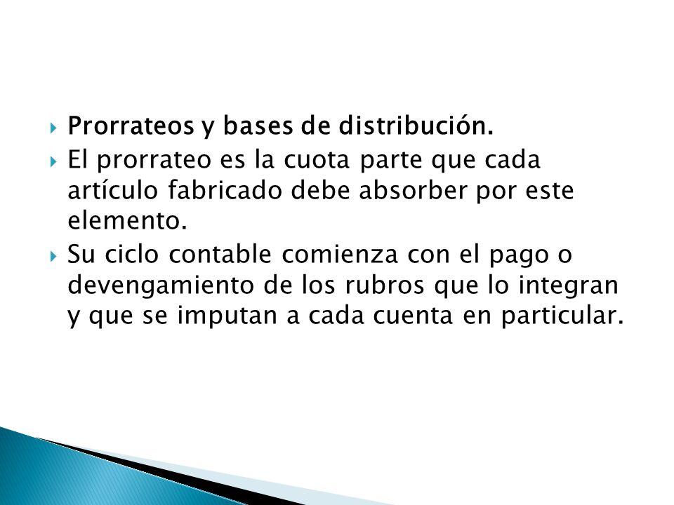 Prorrateos y bases de distribución. El prorrateo es la cuota parte que cada artículo fabricado debe absorber por este elemento. Su ciclo contable comi
