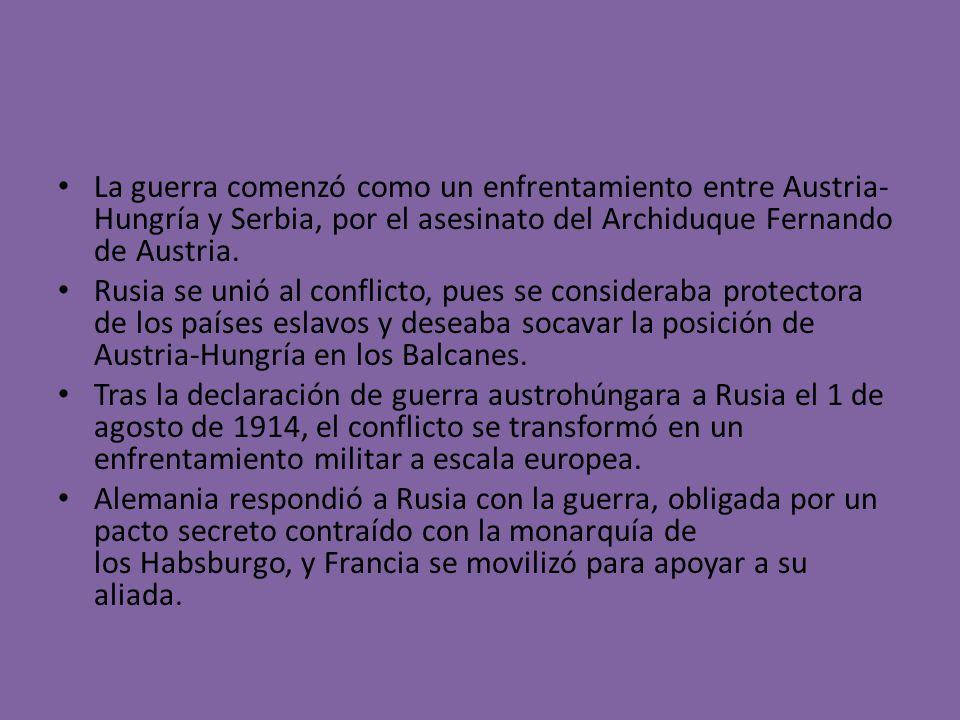 La guerra comenzó como un enfrentamiento entre Austria- Hungría y Serbia, por el asesinato del Archiduque Fernando de Austria. Rusia se unió al confli