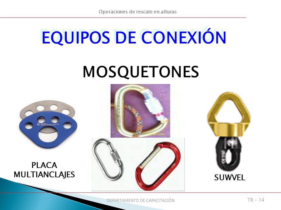 Operaciones de rescate en alturas DEPARTAMENTO DE CAPACITACIÓN TR – 14 MOSQUETONES EQUIPOS DE CONEXIÓN SUWVEL PLACA MULTIANCLAJES