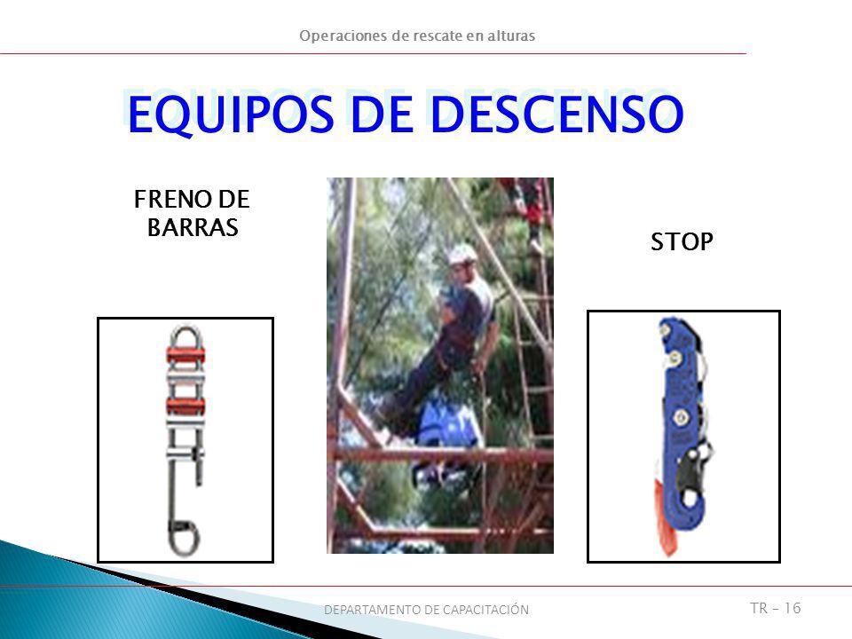 Operaciones de rescate en alturas DEPARTAMENTO DE CAPACITACIÓN TR – 16 FRENO DE BARRAS STOP EQUIPOS DE DESCENSO
