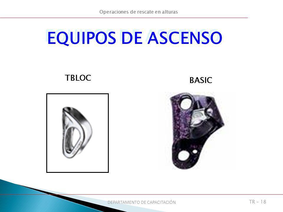 Operaciones de rescate en alturas DEPARTAMENTO DE CAPACITACIÓN TR – 18 EQUIPOS DE ASCENSO TBLOC BASIC