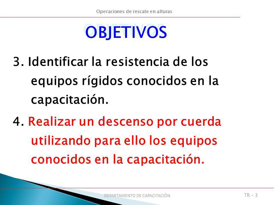 Operaciones de rescate en alturas DEPARTAMENTO DE CAPACITACIÓN TR – 3 OBJETIVOS 3. Identificar la resistencia de los equipos rígidos conocidos en la c