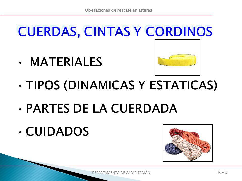 Operaciones de rescate en alturas DEPARTAMENTO DE CAPACITACIÓN TR – 5 MATERIALES TIPOS (DINAMICAS Y ESTATICAS) PARTES DE LA CUERDADA CUIDADOS CUERDAS,