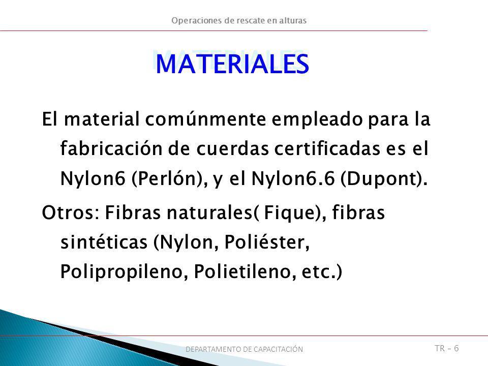 Operaciones de rescate en alturas DEPARTAMENTO DE CAPACITACIÓN TR – 6 El material comúnmente empleado para la fabricación de cuerdas certificadas es e
