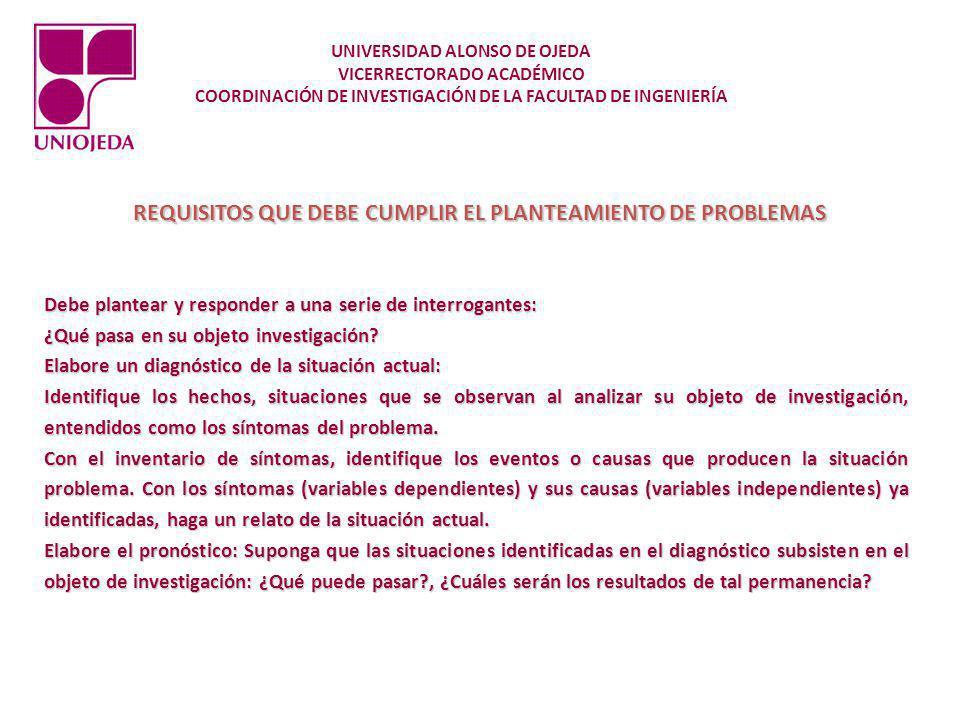 REQUISITOS QUE DEBE CUMPLIR EL PLANTEAMIENTO DE PROBLEMAS Como investigador Ud.