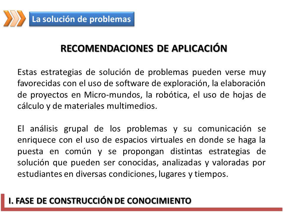 I. FASE DE CONSTRUCCIÓN DE CONOCIMIENTO La solución de problemas Estas estrategias de solución de problemas pueden verse muy favorecidas con el uso de